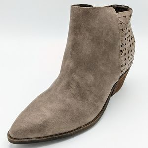 Yellow Box Darma Taupe Woven Back Ankle Bootie 11M